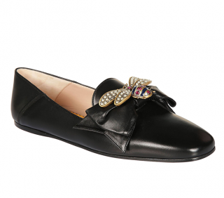 Gucci black leather bee embellished loafers