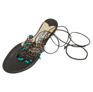 Jimmy Choo flat brown Laura lace up sandals