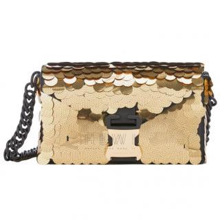 Christopher Kane Devine Gold Sequin shoulder bag