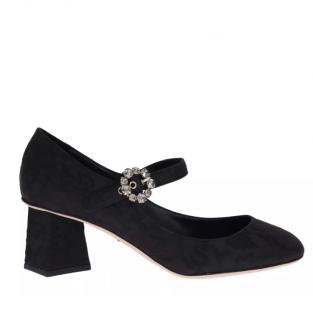 Dolce & Gabbana Crystal Embellished Brocade Mary-Jane Low Pumps