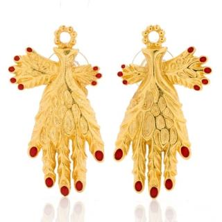 Salvador Dali Reproduced Vein Leaf Hand Earrings