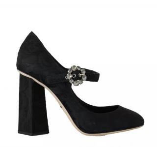 Dolce & Gabbana black jacquard Mary Jane pumps