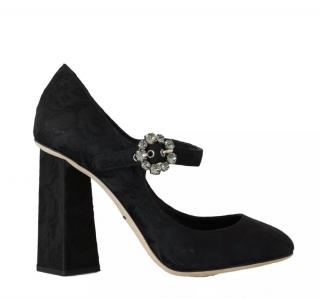 Dolce & Gabbana Crystal Buckle Brocade Mary-Jane HIgh Pumps