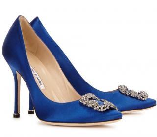 Manolo Blahnik Royal Blue Hangisi Pumps