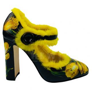 Dolce & Gabbana fur-trimmed tulip Mary Jane pumps