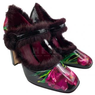Dolce & Gabbana fur-trimmed tulip Mary Jane pumps