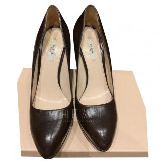 Prada Black Leather Round Toe Pumps