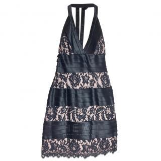 BCBG Max Azria Lace & Satin Halterneck Dress, UK 8