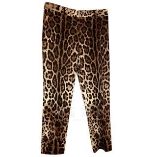 Dolce & Gabbana Leopard Print Crop Pants