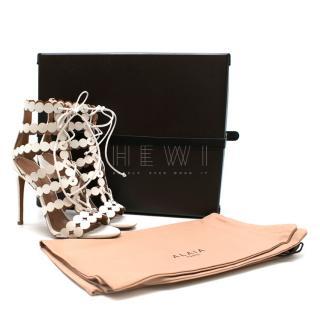 Alaia Laser-cut Leather & Suede Sandals