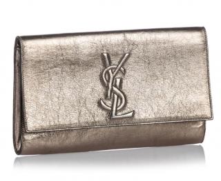 Saint Laurent Metallic Belle de Jour Leather Clutch
