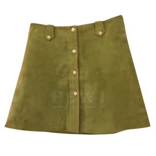 Tara Jarmon Green Suede A-Line Skirt