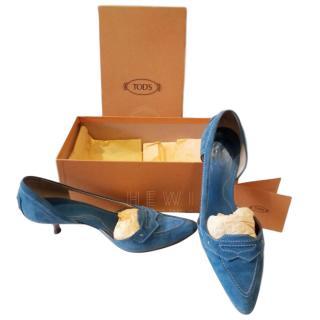 Tod's Blue Suede D'Orsay Kitten Heel Pumps