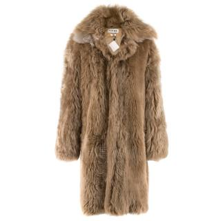 Loewe Toffee Lamb Shearling Double Collar Coat