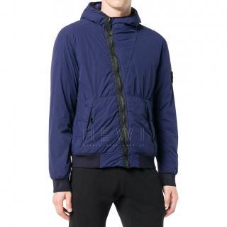 Stone Island Men's Blue Asymmetric Rain Jacket