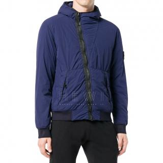 Stone Island Men's Blue Asymmetric Rain Jacket
