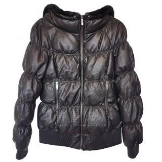 Lacroix Black Leather Puffer Jacket