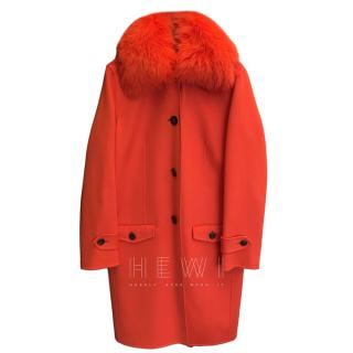 Christian Dior double faced cashmere coat w/ fox fur collar