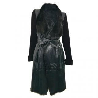 Joseph Rabbit Fur Lined Wrap Coat
