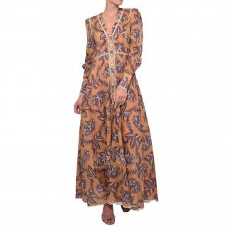 Zimmermann Castile Button Up Long Dress in Mushroom Floral