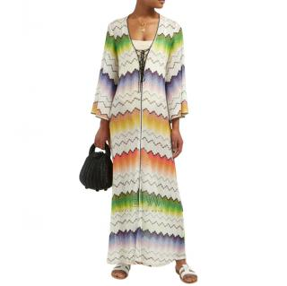 Missoni Mare Crochet Knit Zig Zig Kaftan Maxi Dress