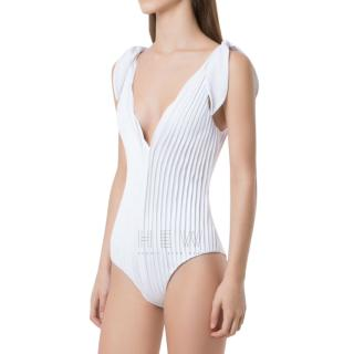 Adriana Degreas White Textured Swimsuit - Current Season