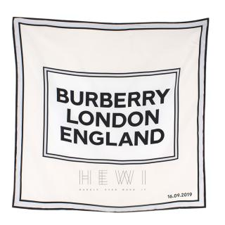 Burberry Runway Logo Print Silk Square Scarf  - Not Selling In Store