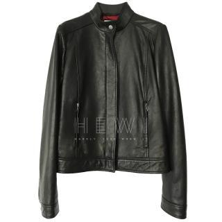 Gucci Black High Neck Leather Jacket