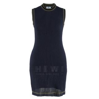Prada Navy Ribbed Knit Stretch Sleeveless Dress