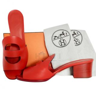 Hermes Red Mona Mules