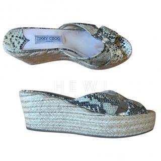 Jimmy Choo Python Espadrille Platform Sandals