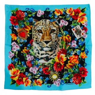 Dolce & Gabbana leopard & floral print silk scarf