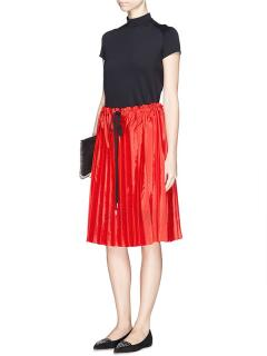 Victoria Victoria Beckham Washed Taffeta Drawstring Pleated Skirt