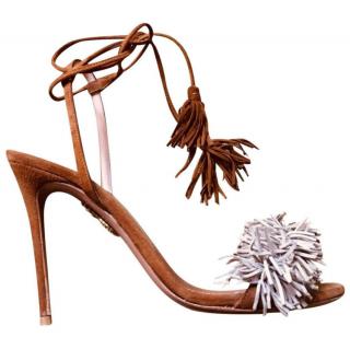Aquazurra Suede Beige Wild Thing Sandals