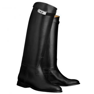 Hermes Black Leather Riding Boots