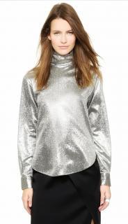 Cedric Charlier shimmering silver turtleneck blouse