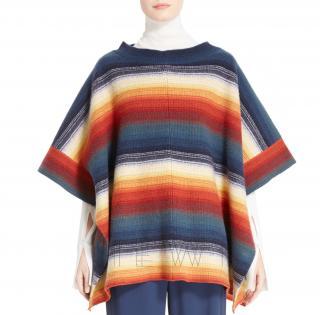 Chloe Stripe Felted Wool & Cashmere Poncho