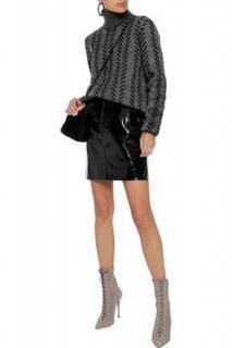 Saint Laurent Roll-Neck Grey Chevron Mohair Sweater