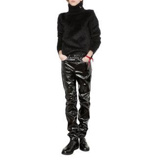 Saint Laurent Men's Mohair Black Roll Neck Sweater