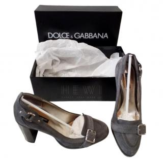 Dolce & Gabbana Grey Block Heel Pumps