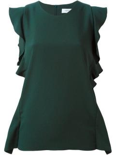Carven Green Ruffled Sleeveless Dress