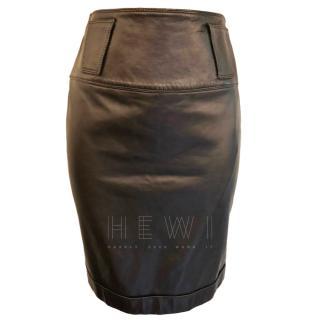 Gianni Versace Black Leather Skirt