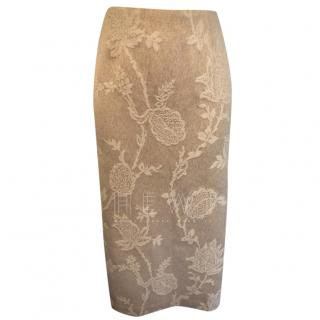 Kenzi Cream Wool & Lace Pencil Skirt