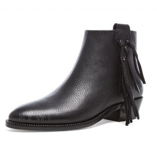 Valentino Black Fringe Grained Leather Ankle Boots