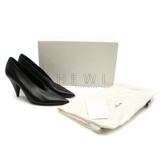 Celine Black Lambskin V-neck Pumps