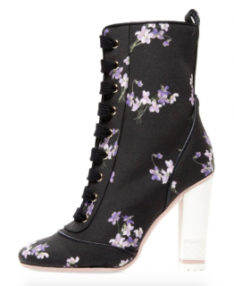 Red Valentino Floral Print Lace-Up Ankle Boots