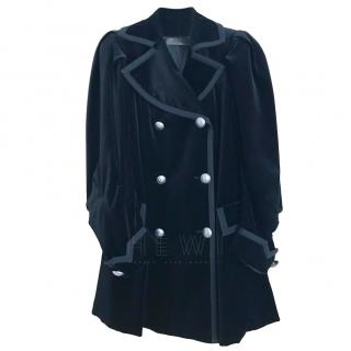 Etro Black Velvet Double Breasted Coat