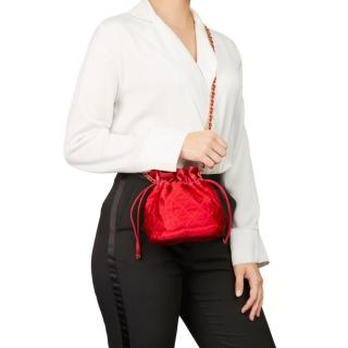Chanel Vintage Leather & Satin Bucket Bag