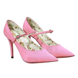 Gucci pink satin Mary Jane Pumps