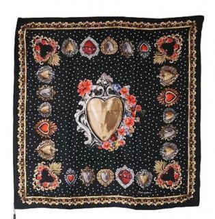 Dolce & gabbana scared heart printed silk scarf